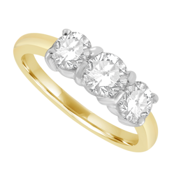 18ct Gold 3-stone 1.01ct Diamond Ring