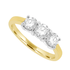 18ct Gold 3-stone .70ct Diamond Trilogy Ring