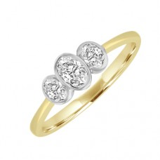 18ct Gold Three-stone Oval cut Diamond Rubover Ring