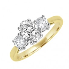 18ct Gold Three-stone Oval & Brilliant Diamond Ring