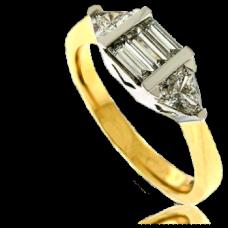 18ct Gold Bagette & Trillion cut Diamond Cluster Ring