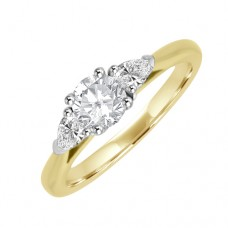 18ct Gold Three Stone Brilliant & Pear Diamond Ring