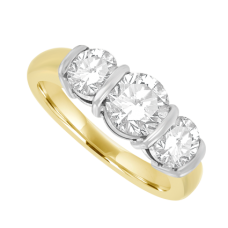 18ct Gold 3-Stone 1.58ct Diamond Bar Set Ring