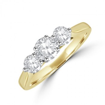 18ct Gold Three-stone 4x3 set Diamond Ring