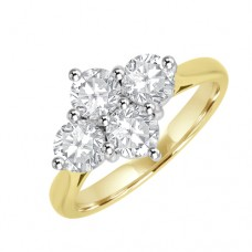 18ct Gold Four-Stone 2x2 Cluster Diamond Ring