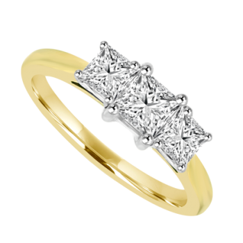 18ct Gold 3-stone Princess .77ct Diamond Ring