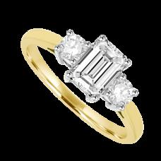 18ct Gold 3-Stone Emerald & Brilliant cut Diamond Ring