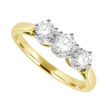 18ct Gold 3-Stone .50ct Diamond Ring