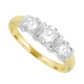 18ct Gold 3-Stone .70ct Diamond Bar Set Ring