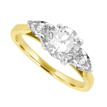18ct Gold 3-stone Brilliant & Pear cut Diamond Ring