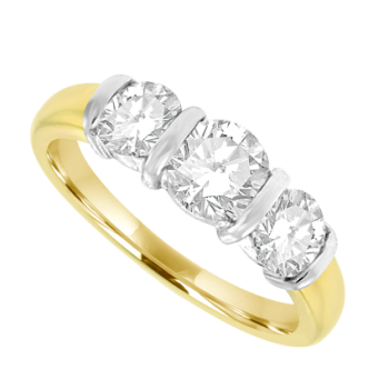 18ct Gold 3-stone 1.00ct Diamond Bar Set Ring