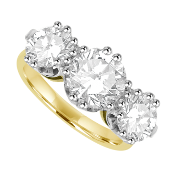 18ct Gold 3-stone 3.02ct Diamond Ring