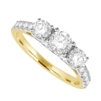 18ct Gold 3-Stone 1.00ct Diamond Ring with set Shoulders