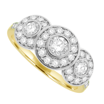 18ct Gold Triple Cluster Diamond Halo Ring