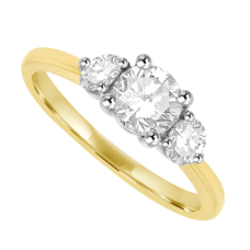18ct Gold 3-Stone .84ct Diamond Ring