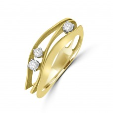 18ct Yellow Gold Diamond Cammilli Wave Ring