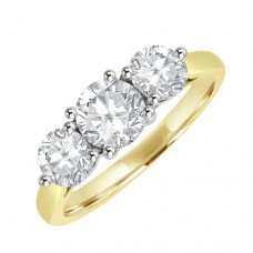 18ct Gold Three-stone Diamond 4x3 Claw Ring
