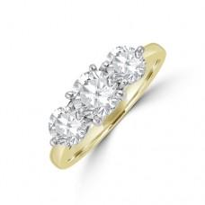 18ct Gold Three-stone 1,75ct Diamond 4x3 Claw Ring