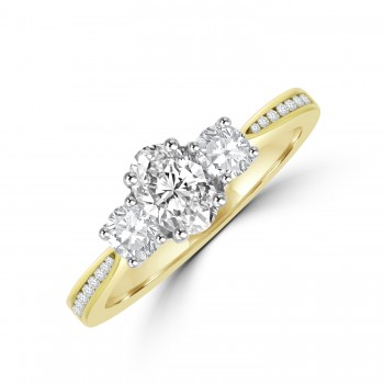 18ct Gold 3-stone Oval & Brilliant cut Diamond set shoulders