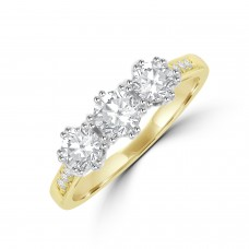 18ct Gold Three-stone ESi1 Diamond Ring
