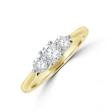 18ct Gold Three-stone .50ct Diamond 4x3 Claw Ring