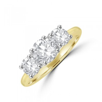 18ct Gold (Platinum) Three-stone DSi1 Diamond Ring