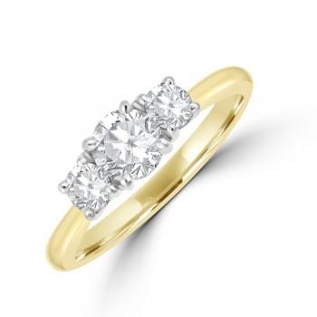18ct Gold (Platinum) Three-stone ESi1 Diamond Ring