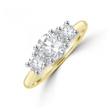 18ct Gold (Platinum) Three-stone DSi2 Diamond Ring