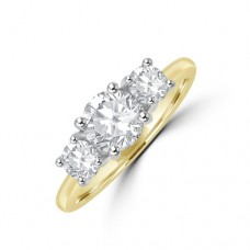 18ct Gold and Platinum 3-stone 1.38ct DSi2 Diamond Ring