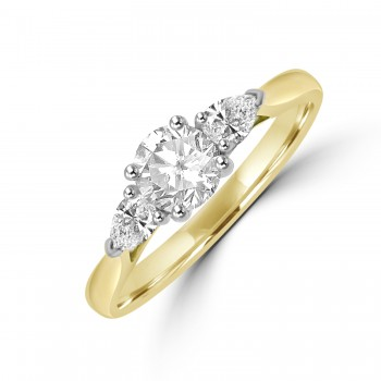 18ct Gold & Plat Three-stone DSi2 Brilliant & Pear Diamond Ring