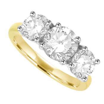 18ct Gold 2.03ct Three-stone DSi2 Diamond Ring