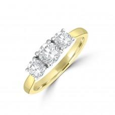18ct Gold and Platinum Three-stone DSi2 Diamond Ring