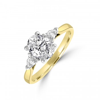 18ct Gold and Platinum Three-stone FSi2 Oval Pear Diamond Ring