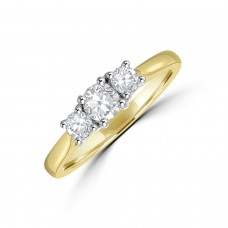 18ct Gold Three-stone .49ct Diamond Ring