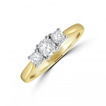 18ct Gold Three-stone .49ct Diamond Ring