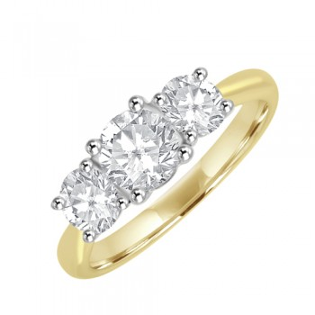 18ct Gold & Platinum 1.50ct Three-stone DSi1 Diamond Ring