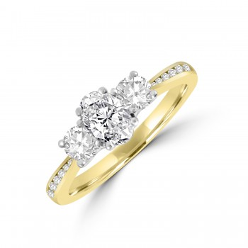 18ct Gold and Platinum 3-stone DVS1 Oval & Round Diamond Ring