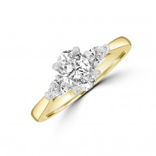 18ct Gold and Platinum DVS1 Oval & Pear Diamond Ring