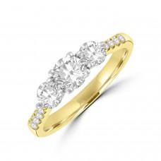 18ct Gold Three-stone .84ct Diamond Ring