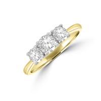 18ct Gold & Platinuim Three-stone DSi2 DIamond Ring