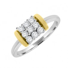 18ct Two-Tone Gold Diamond Cluster Ring