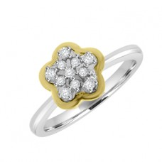 18ct Two-Tone Gold Diamond Flower Cluster Ring
