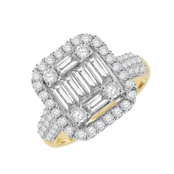 18ct Two-Tone Gold Baguette Diamond Cluster Halo Ring