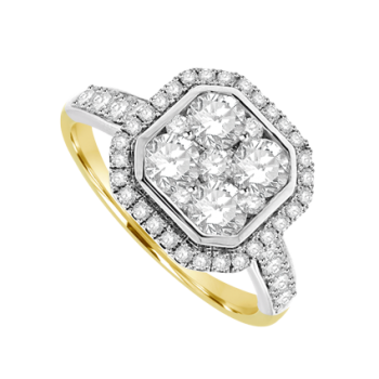 18ct Yellow Gold Diamond Cushion-shaped Cluster Halo Ring