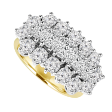 18ct Yellow Gold 19-Stone Princess cut Diamond Cluster Ring