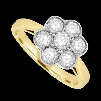 18ct Gold 7-Stone .71ct Diamond Flower Cluster