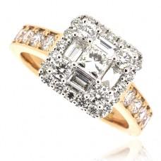 18ct Rose Gold Princess & Baguette Diamond Cluster Halo Ring