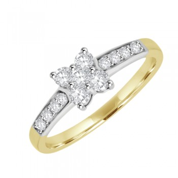 18ct Gold Five-stone Diamond Cluster Engagement Ring