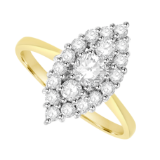 18ct Gold 19-stone Diamond Marquise shaped Cluster Ring