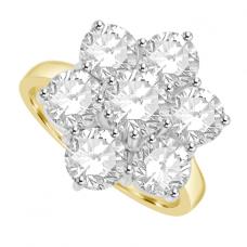 18ct Gold 7-Stone Diamond Flower Cluster Ring